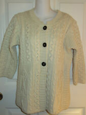 KILRONAN KNITWEAR IVORY WOOL CABLE CARDIGAN FISHERMAN SWEATER IRELAND~XXS