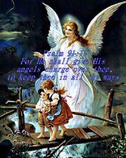 "Psalm 91:11 Jesus Christ Guardian Angel art print 8""x 10"" Christian Photo 1"