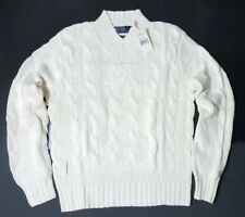 $195 POLO RALPH LAUREN COTTON-BLEND NAVY-CRICKET CABLE KNIT MENS SWEATER-(M)
