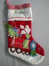 Pottery Barn Kids Quilted Red Train Gingham Christmas Stocking w/ name Jonathan