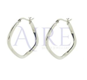 Genuine Sterling Silver 35mm Hoop Earrings  (SE0543)