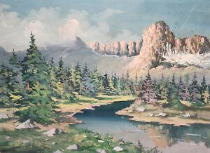 1970 European gouache painting landscape signed