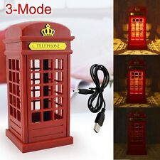 USB Rechargeable Telephone Booth LED Desk Night Light Lamp Bedroom Decor  New
