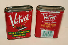 Set 2 Vintage Velvet Pipe Tobacco Tin Litho Can 1980s Empty