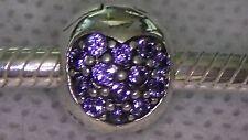 Unbrand 925 St Silver Australian PURPLE Crystal Heart Clip~European Bead Charm
