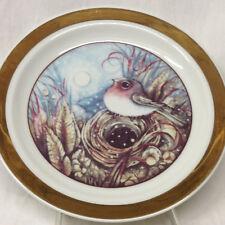 "THUN CZECHOSLOVAKIA CARLSBAD BIRD'S NEST BIRD PLATE 7 1/2"" GOLD BAND"