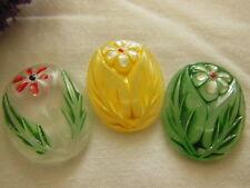 trio cabochons vintage en verre ovale fleur peinte  creation D10L