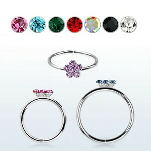 Sterling silver 925 seamless nose Piercing hoop with crystals flower