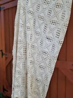Antique Crocheted Coverlet 115 x 100 farmhouse country off white bedspread cover