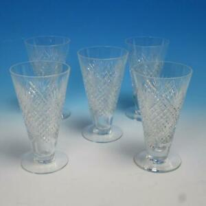 Signed Hawkes Cut Glass - 5 Tall Footed Iced Tea Tumblers - 6 inches
