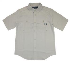Under Armour Big Boys Beige Woven Button Up Shirt Size Medium 10/12