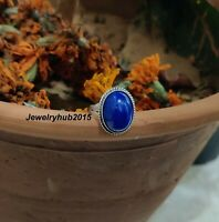 Solid 925 Sterling Silver Ring Handmade Ring Lapis Lazuli Stone Ring Size 001