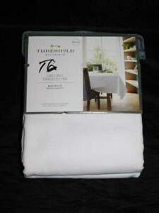 Threshold NEW White Oblong Tablecloth 60 x 120 in Cotton Blend Machine Wash NWT