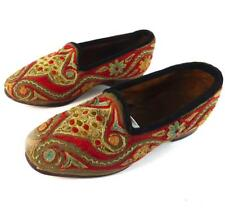 PAIR ANTIQUE EMBROIDERED SHOES SLIPPERS EMBRODIERY FOR CHILD OR DOLL