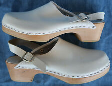 Vtg 80s Nurse Mates Leather Clog Wooden shoe Italy White 7.5 8 Womens Mule Nwot
