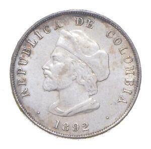 Better Date - 1892 Colombia 50 Centavos - SILVER *265