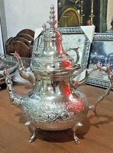 Moroccan X Large TeaPot Handmade Serving 12 Tea Cups Brass Silver Plated African