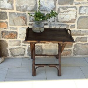 Vintage style teak wood butler's tray side table on stand, Artwood
