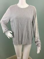 NWT Womens Ann Taylor LOFT Gray Lacy Sleeve Silk Blend Sweater Sz L Large
