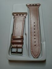 Genuine Rose Gold Leather 42mm/44mm Band For Apple Watch