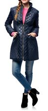NEW Via Spiga Navy Blue M Quilt Zip Light weight Fitted Walker Jacket Coat $208