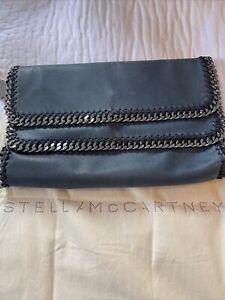 Stella McCartney Blue Vegan Leather Falabella Clutch Bag