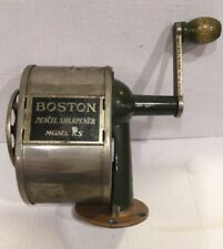 VINTAGE BOSTON PENCIL SHARPENER. MODEL KS. GREEN WITH WOOD KNOB