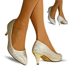 Mujer Boda Graduación Fiesta Bajo Tacón Zapatos de Salón Pedrería pumps-1013