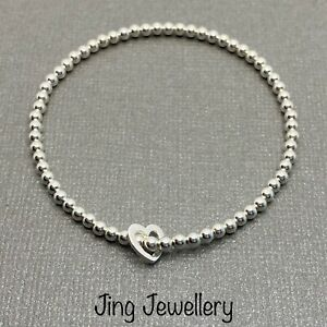 Sterling Silver 925 Beaded Stretch Stacking Bracelet With Floating Heart Charm