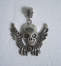 Large Tibetan Silver Skeleton/Skull Pendant for Necklace Thong Jewellery Making