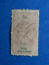 1867 5S NEW ZEALAND STAMP DUTY REVENUE BAREFT# 101 USED DIE I PERF 12.5  CS33164