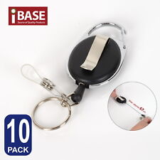 10x Retractable Recoil Key Ring Chain Pull Holder Reel Belt Clip Extend Keyring