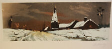 1930s Etching Signed NANCY Winterscape Old Barn Houses Tower Snowy Road