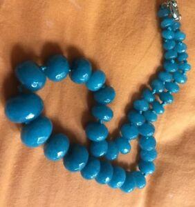 Real Huge Aquamarine Necklace 10-18mm facet beads Audrey Hepburn 60s.UK SALE.NEW