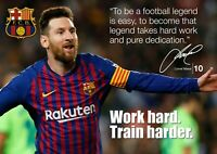 Lionel Messi Poster #56 - Barcelona #10 - Signed (copy) Motivational quotes A4