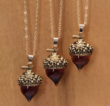 Amber Glaze Glass Acorn Long Sweater Necklace, Fall Autumn Season Nature Jewelry