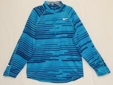 NIKE Kids Boys Dri-Fit Blue Striped Polyester 1/2 Zip Sweatshirt Size L (14-16)