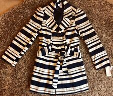 GEORGE. NAVY & CREAM. STRIPED MAC COAT With BELT