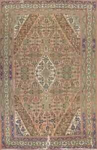 Vintage Muted Geometric Hamedan Evenly Low Pile Wool Hand-knotted Area Rug 10x14