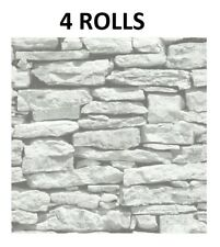 Brick Stone Wallpaper Effect Grey White Feature Wall Arthouse VIP x 4 Rolls