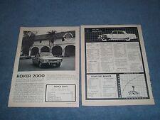 "1964 Rover 2000 P6 Vintage Road Test Info Article ""A Civilized Vehicle..."""
