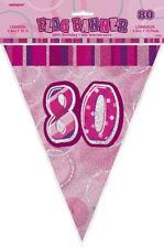 80th Rosa Sfarzo Bunting - 12ft lunga-Plastica Festa Bandierine Bandiera Banner