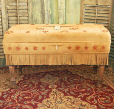 Handmade Deer Suede LONGHORN & BRANDS PADDED BENCH Native American Style
