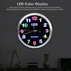 LED Color Light Fashionable Wall Clock Living Room Quartz Hanging Clock