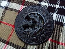UK Highland Kilt Mouche Plaid Broche Chardon Crête Noir/écossais