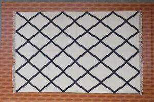 Turkish Kilim Dhurrie Afghan  Area Rug 5x8' Black & White Hand Woven Wool Rug
