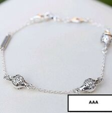 """925 Sterling Silver Pods of Love w Clear CZ on a Chain Bracelet Size 18CM   7.1"""""""