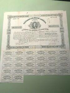 1863 $500 CSA Confederate States of America - Civil War Bond Certificate #686
