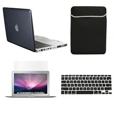 "4 in1 Crystal BLACK Case for Macbook PRO 13"" + Keyboard Cover + LCD Screen+ Bag"