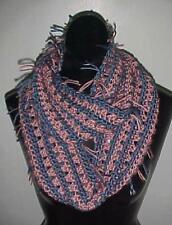 Hand Crochet Loop Infinity Circle Scarf/Neckwarmer #134 Pink/Blue w/Fringe New